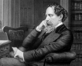 Etching off Charles Dickens in his study
