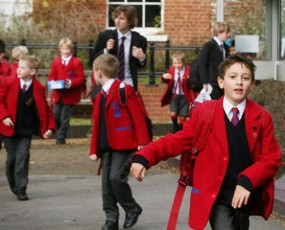 School children exiting classroom at a private school