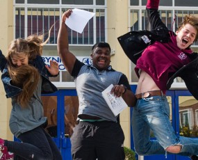 School leaving celebrating A-level results