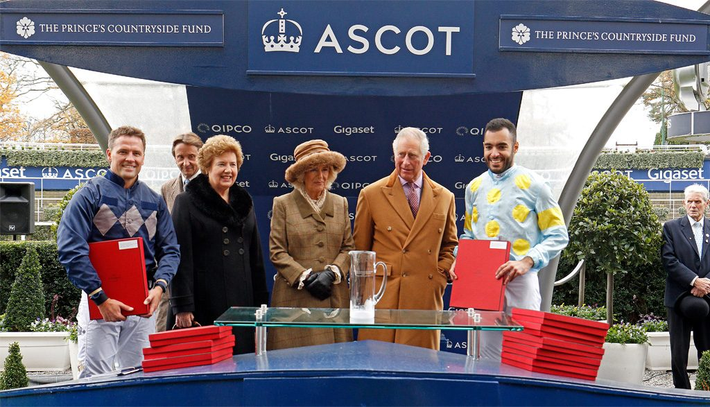 HRH the Duchess of Cornwall and HRH the Prince of Wales, make a presentation to Sheik Fahat Al Thani
