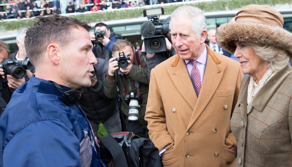 Michael Owen chats with HRH the Prince of Wales and HRH the Duchess of Cornwall after coming second.