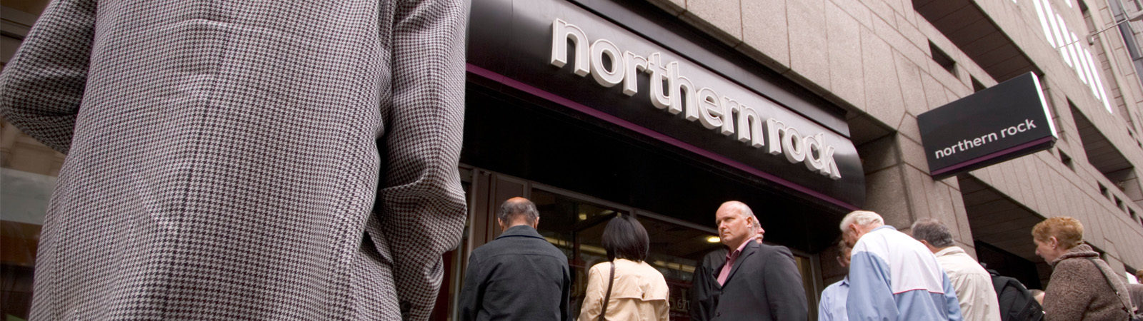Customers queuing outside Northern Rock bank during crisis